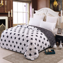 100% Microfiber Fabric Summer Throw Quilts Comforter Starry Printed Queen Bed Cover Sheets Soft Blanket Single Quilts(China)