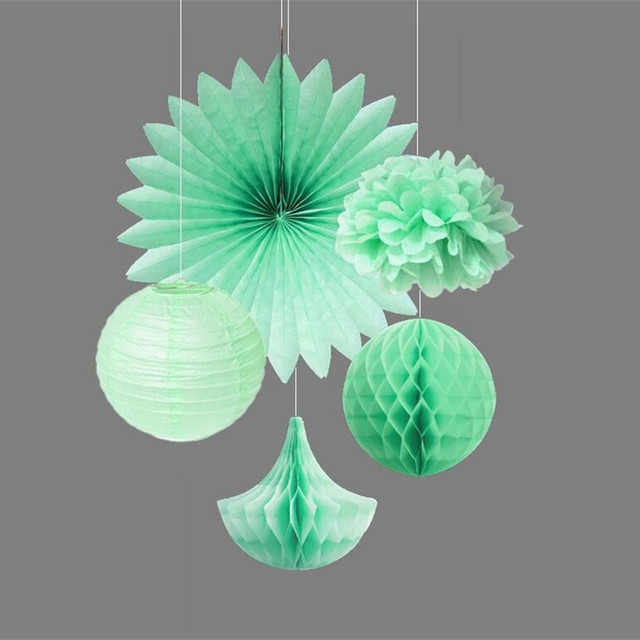 Gut 5 Stücke Mint Dekoration Set Haus U0026 Garten Liefert Seidenpapier Pom  Pom/Tropfen/Ball