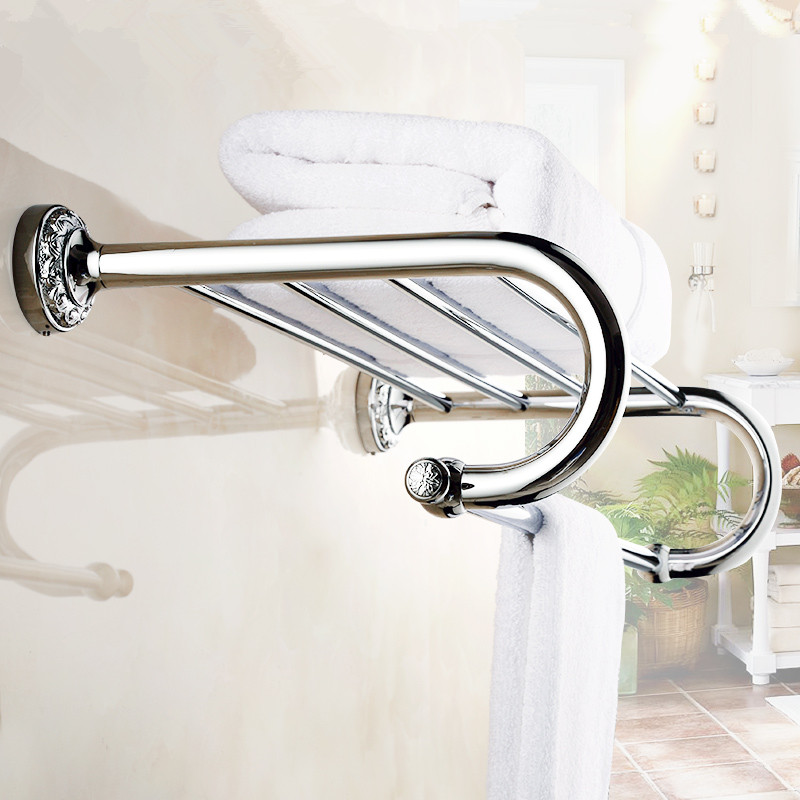 Europe Antique silvery Bathroom Accessories Carving Finish pattern Chrome plated Towel rack/Bathroom rack Sanitary products WA16