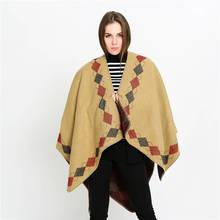 Brand font b Tartan b font Foulard Women Casual Patchwork Poncho Winter Luxury Brand Thick Blanket