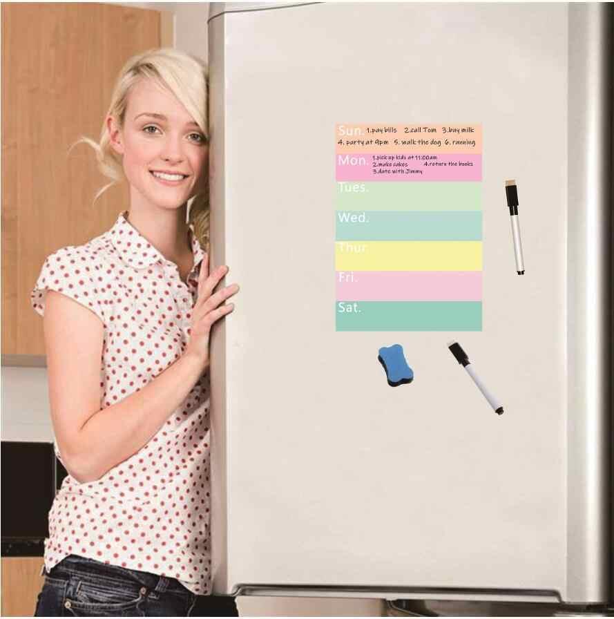 A20 Magnetic Dry wischen Menü Board für Kühlschrank Aufkleber Wöchentlich  Planer Lebensmittel Liste Notizblock Küche Kühlschrank Magnet Whiteboard