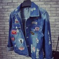 Holes Denim Jacket Female 2016 Winter New Women Coats Trend Patch Chaquetas Mujer Loose Dames Jassen Casacos All-Match Abrigos