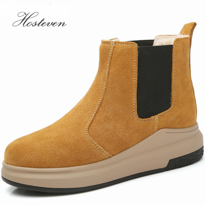 Women's Boots Autumn Winter Warm Plush General Leather Snow Boots Mid Calf Boots Women Ladies Girls Students  Women Shoes double buckle cross straps mid calf boots