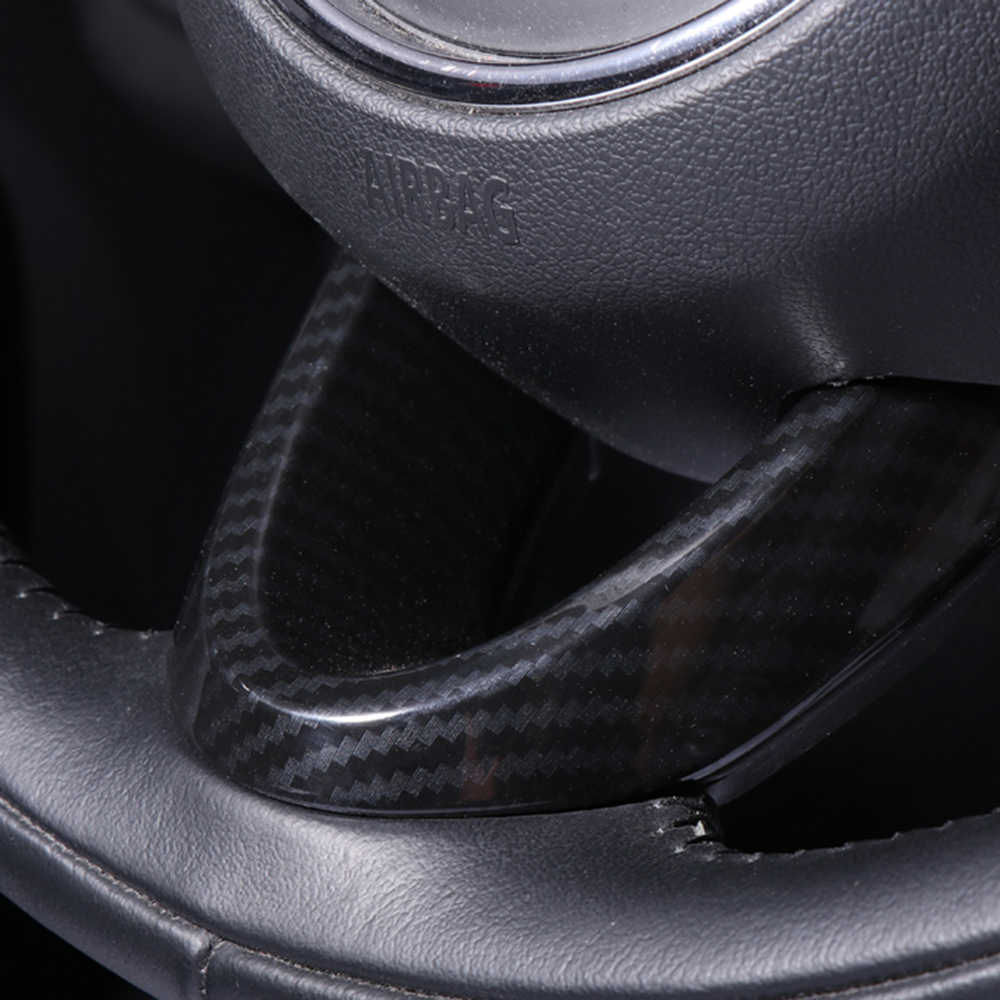 3pcs รถตกแต่งคาร์บอนไฟเบอร์พวงมาลัยสติกเกอร์สำหรับ MINI COOPER S F54 F55 F56 F60 Countryman รถอุปกรณ์เสริม