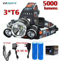 Head Lamps LED Bright Light Long Shots T6 3 Farol Lanterna Free 18650 Rechargeable Battery Charger
