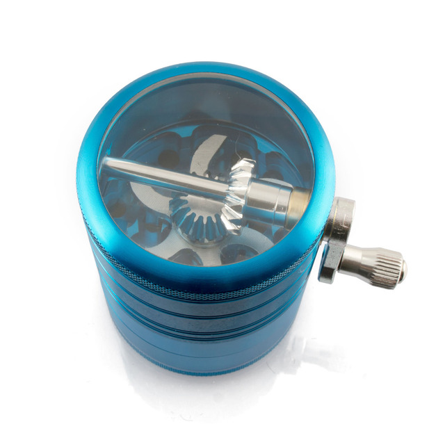 Formax420 4 Pieces 2.0 Inch Metal Grinder Spice Mill Blue Mechanical Handle Grinder
