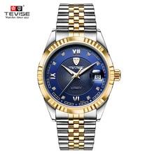 TEVISE reloj mecánico con fecha luminosa para hombre, automático, de lujo, pulsera de Metal