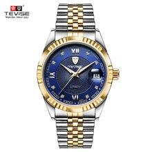 Tevise Mechanische Horloge Mannen Lichtgevende Datum Heren Horloges Luxe Automatische Horloge Mannen Klok Met Metalen Horloge Armbanden Dropshipping