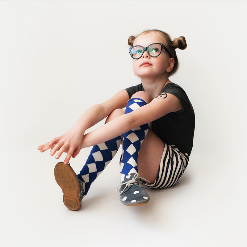 Fashion kids Knee high socks British style argyle children boys girls over-the- calf socks western style school student socks