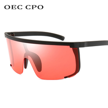 OEC CPO Oversized Rimless Sunglasses Men Ladies Brand Design One Piece Lens Big Frame Sun Glasses Women Uv400 Goggles  O47