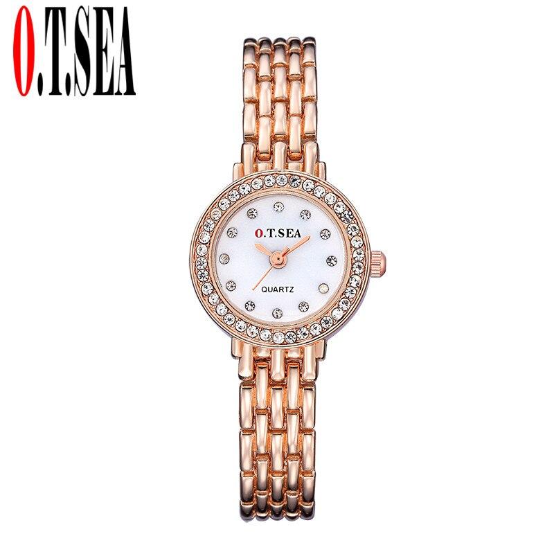 O T SEA Brand Rose Gold Bracelet font b Watches b font Women Ladies Crystal Dress