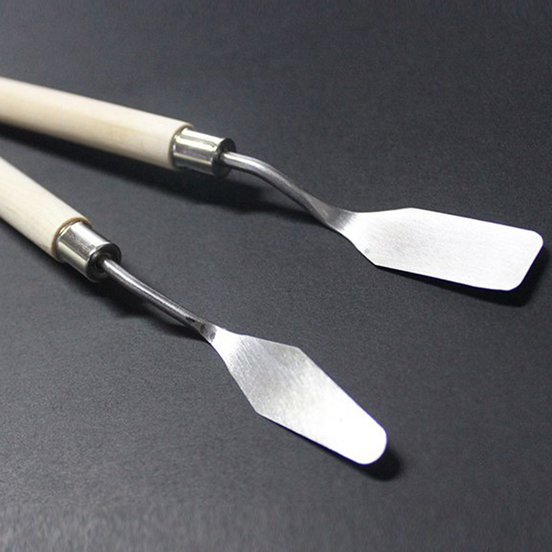 2Pcs Stainless Steel Palette Painting Knife Spatula Scraper Blade Drawing Tools Set For Mixing Art Oil Painting Art Supplies