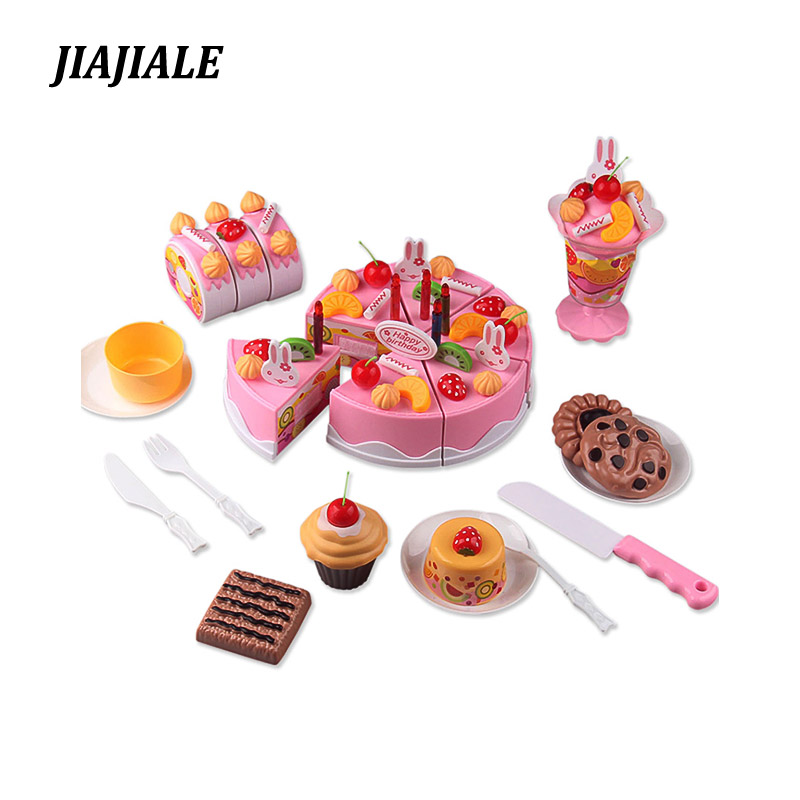 75Pcs/ Set Plastic Kitchen Cutting Toy Birthday Cake Pretend Play Food Toy Set gift for Kids Girl Educational Toy Play house toy 32pcs set repair tools toy children builders plastic fancy party costume accessories set kids pretend play classic toys gift