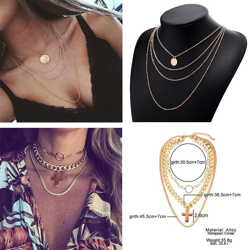 2019 новая многослойная crystal moon ожерелье дамы ретро очарование колье, ожерелье вечерние аксессуары и украшения