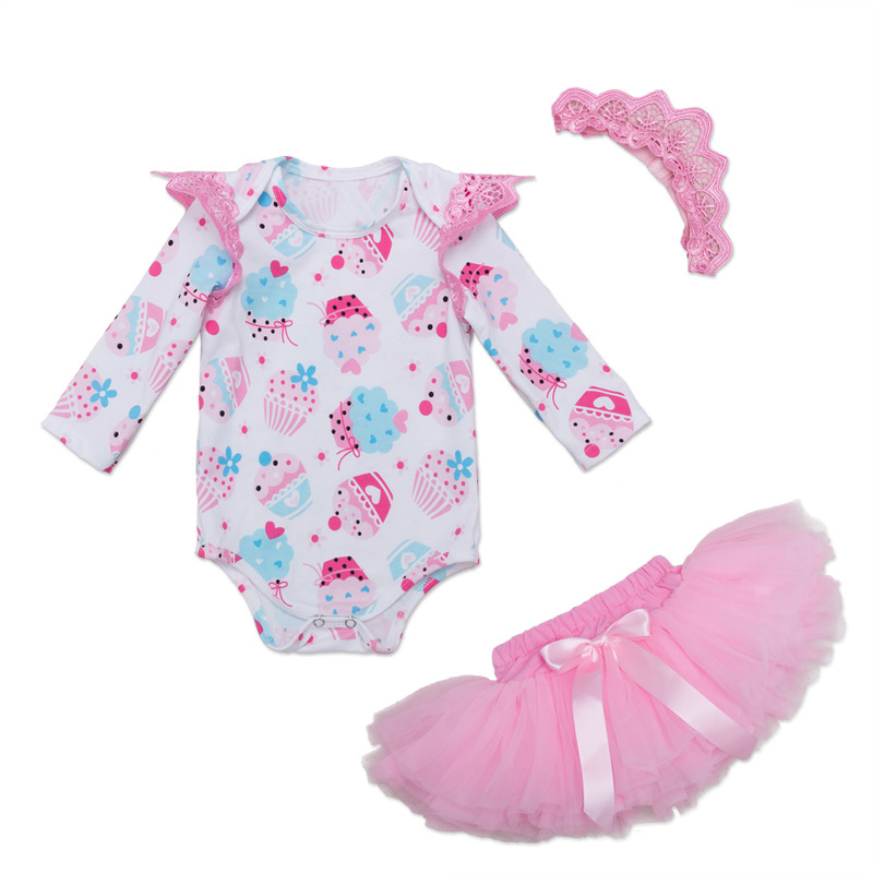 New born Baby Clothing Sets Girl Long sleeve Cake Romper+Crown+Tutu Skirts+3pcs Princess 1st Birthday Angel Wing Girls Clothes new baby girl clothing sets lace tutu romper dress jumpersuit headband 2pcs set bebes infant 1st birthday superman costumes 0 2t