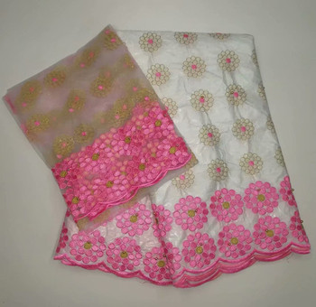(5+2) Pretty wedding/party dress set material African cotton bazin lace fabric and French net lace fabric YBN8
