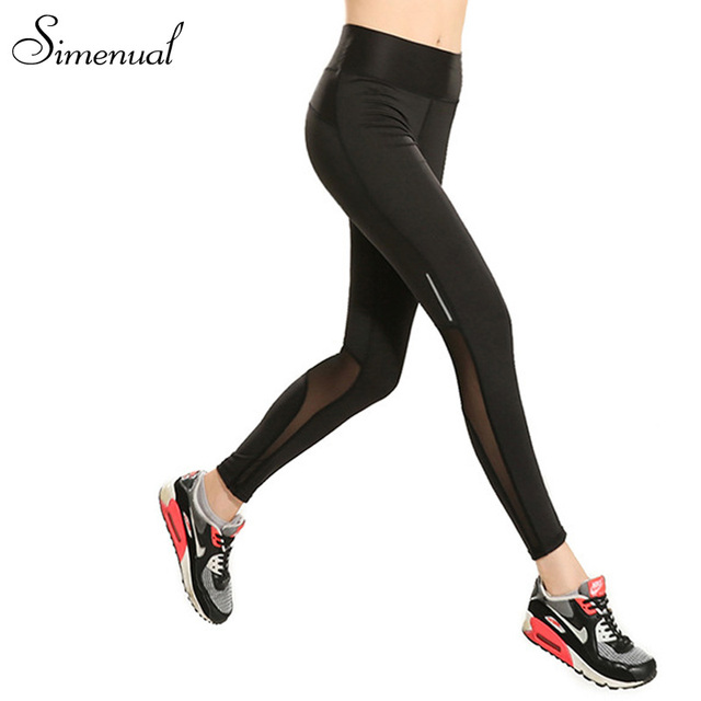 New arrival leggings fitness woman 2016 mesh splice slim black summer legging pants sportswear fashion leggins harajuku clothes