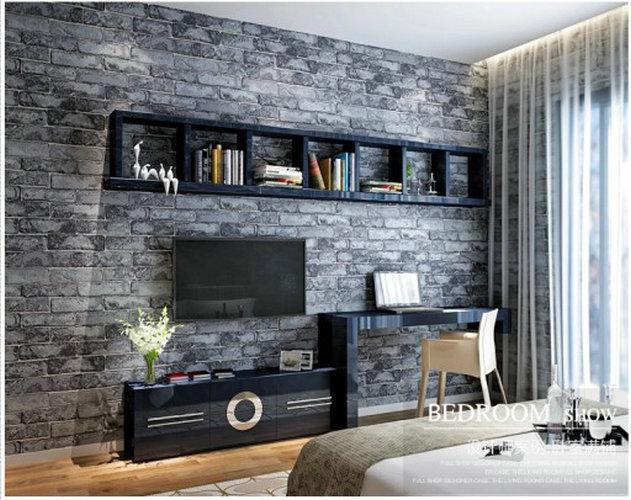 Wasbare decoratie vinyl behang bakstenen muur woonkamer