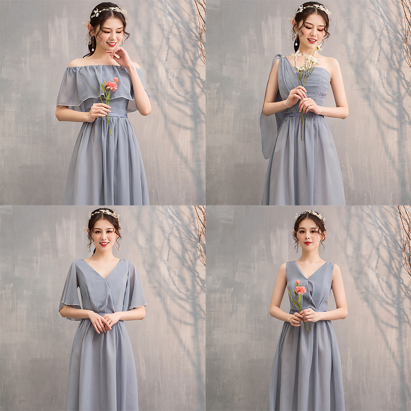 Long Chiffon Dress Burgundy Bridesmaid Elegant Guest Wedding Party Junior A-Line Floor-Length Ladies Prom Azul Royal Vestido