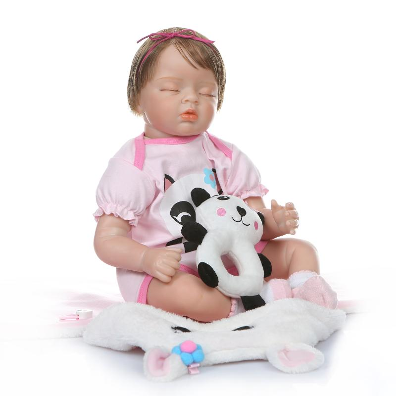 Boneca Reborn 22inch Closed Eyes Soft Silicone Vinyl Doll 55cm Soft Silicone Reborn Baby Doll Newborn Toys Juguetes Brinquedos
