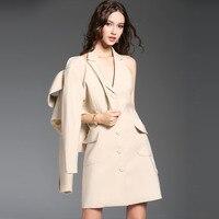 Kakagogo Classical England Style Fashion Notched Autumn Dresses Suit 2 Piece Set Plus Size Formal Work