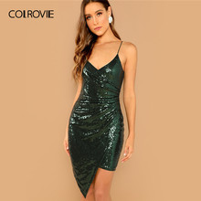 70c81e4a COLROVIE Green Sequin Surplice Wrap Asymmetrical Cami Dress Women Summer  2019 Club Sexy Slim Party Sleeveless Bodycon Dresses