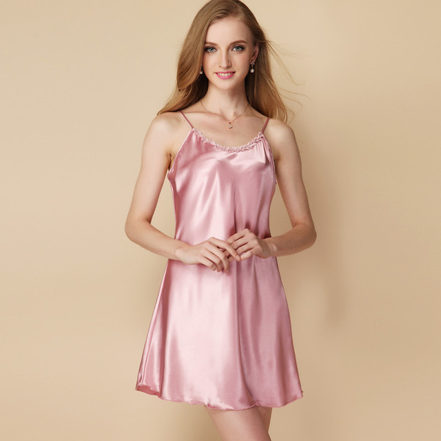 2018 New Night Dress summer style Silk Nightgown Nightdress pijama Ladies  Sleepwear Women nightwear AW8271 3c46e73bbcdf