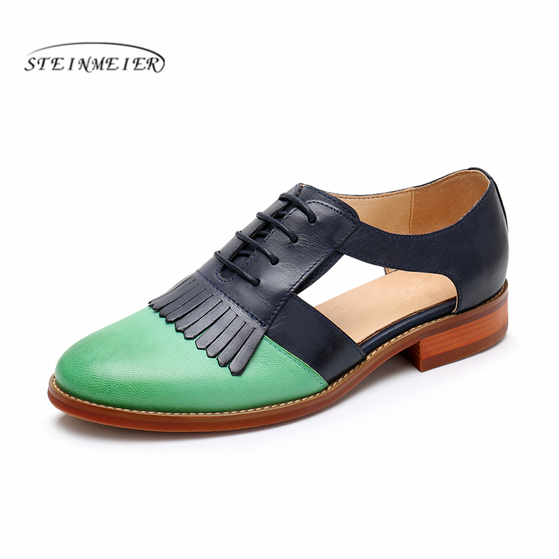New Women Yinzo brogues summer sandals yellow lace up flats shoes woman tassel vintage oxford leather
