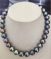 shupping 08151 HUGE PERFECT 12 13mm TAHITIAN BLACK RED GREEN PEARL NECKLACE17.514KGP