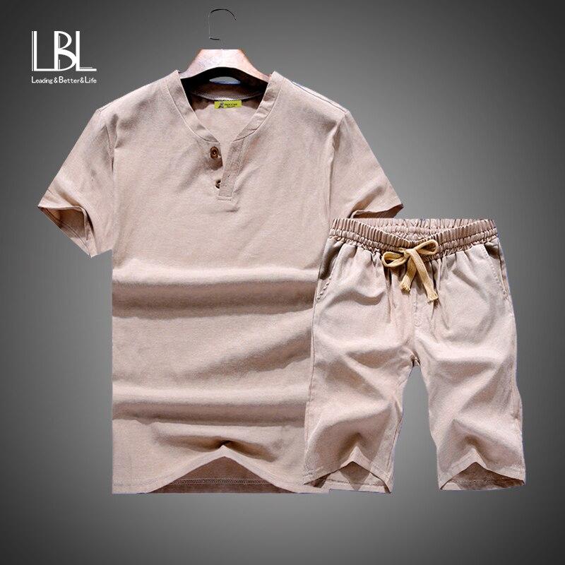 Summer Linen Short Set Men 2018 Brand Tshirt Men Breathable Casual Beach Set Big Size M-9XL 2018 T-shirt Suit Fashion Suit Men