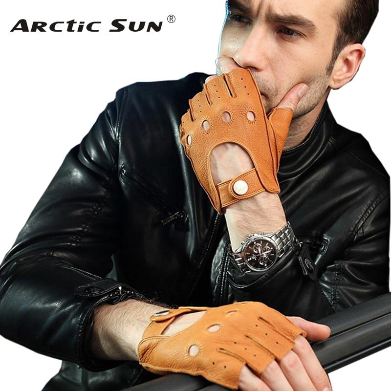 Fashion 2018 Men Deerskin Gloves Wrist Half Finger Driving Glove Solid Adult Fingerless Mittens Real Genuine Leather EM001W