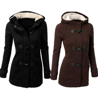 2016 Autumn And Winter New Women Clothes Horn Button Hooded Overcoat