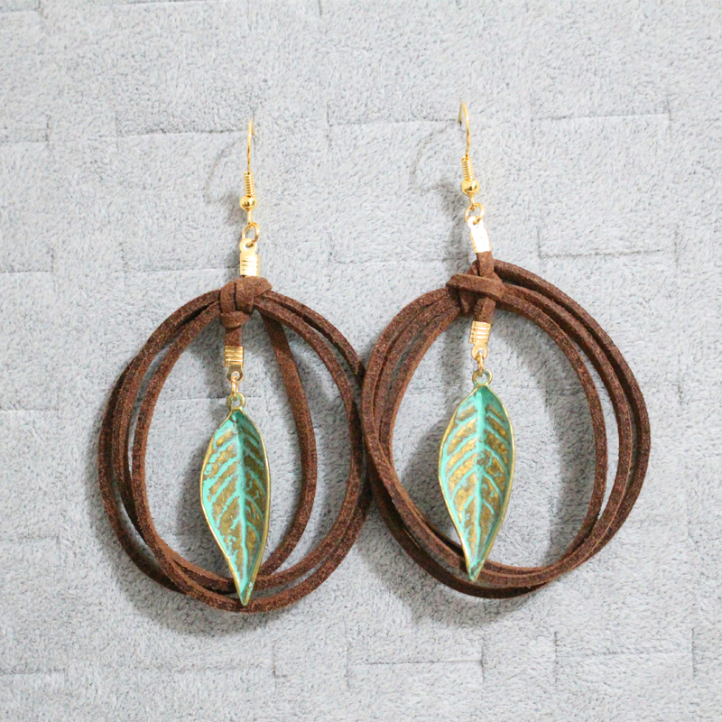 100 Handmade Women Bohemian Ethnic PU Leather Twisted Bronze Plated Leaf Drop Earrings Simple Design Vintage