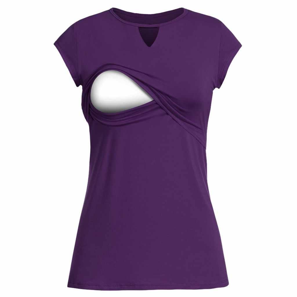 Vetement femme 2019, женские топы для беременных, конверт для младенца, топ с коротким рукавом, двухслойная блузка, футболка, ropa de mujer