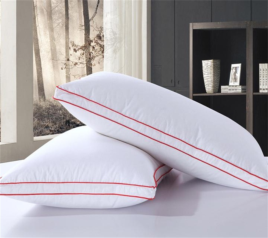 rectangle 95 goose down5 feather pillow white color red edge downproof cotton bed pillows neck almohada neck health 4874cm