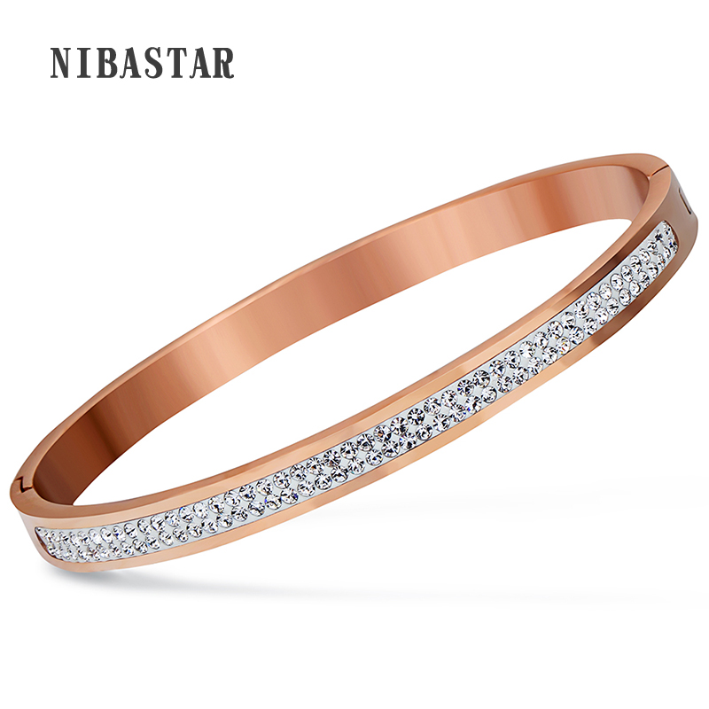 Two Row crystal rhinestone pave stainless steel Open bracelets & bangles for women