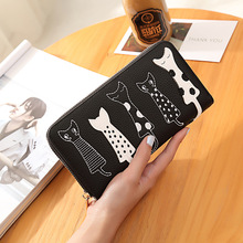 Luxury High Quality Women Cat Cartoon Wallet Creative Female Card Holder Casual Zip Ladies Clutch PU Leather Coin Purse 179Q