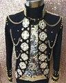 Plus Tamaño Personalizado hombres Chaqueta Piedras Cristales Lentejuelas Espejos Outfit Performance Traje Cantante Masculino prendas de Vestir Exteriores Traje de Chaqueta