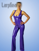 Unique purple latex catsuit sleeveless rubber bodysuits hot sale
