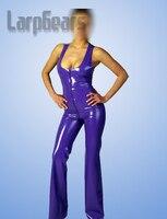 Unique purple latex catsuit sleeveless rubber bodysuits hot sale