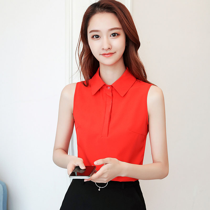 Office Work Wear Women Spring Summer Style Chiffon   Blouses     Shirts   Lady Casual Sleeveless Turn-down Collar Blusas Tops DD1813