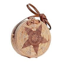 Outdoor Retro Rattan Woven Bag Star Pattern Circular Beach Fashion Dual-Purpose Travel Sling Crossbody Bags Brand New