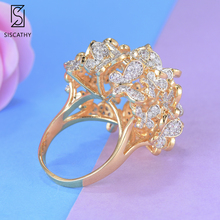 SISCATHY Popular Women Wedding Finger Rings Flower Hollow Statement Cubic Zirconia Circle Ring Party Engagement