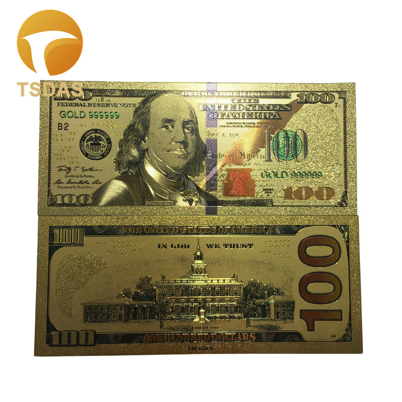 Colorful Gold Banknote US $100 Dollar Souvenir Gift Golden Bank Notes