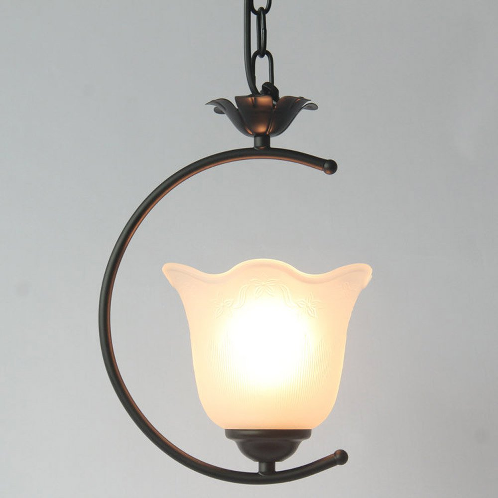 Vintage Iron Chain Porch Pendant Lamp Glass Lampshade Corridor Pendant Lights Balcony Storage Metal Pendant Lighting Fixtures fumat stained glass ceiling lamp european church corridor magnolia etched glass indoor light fixtures for balcony front porch