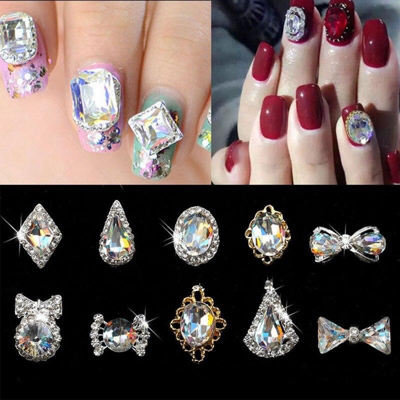 100pcs/lot 3D Nail Jewelry Clear AB Rhinestone Accessories Bow/Heart/Waterdrop Charms Art 2018