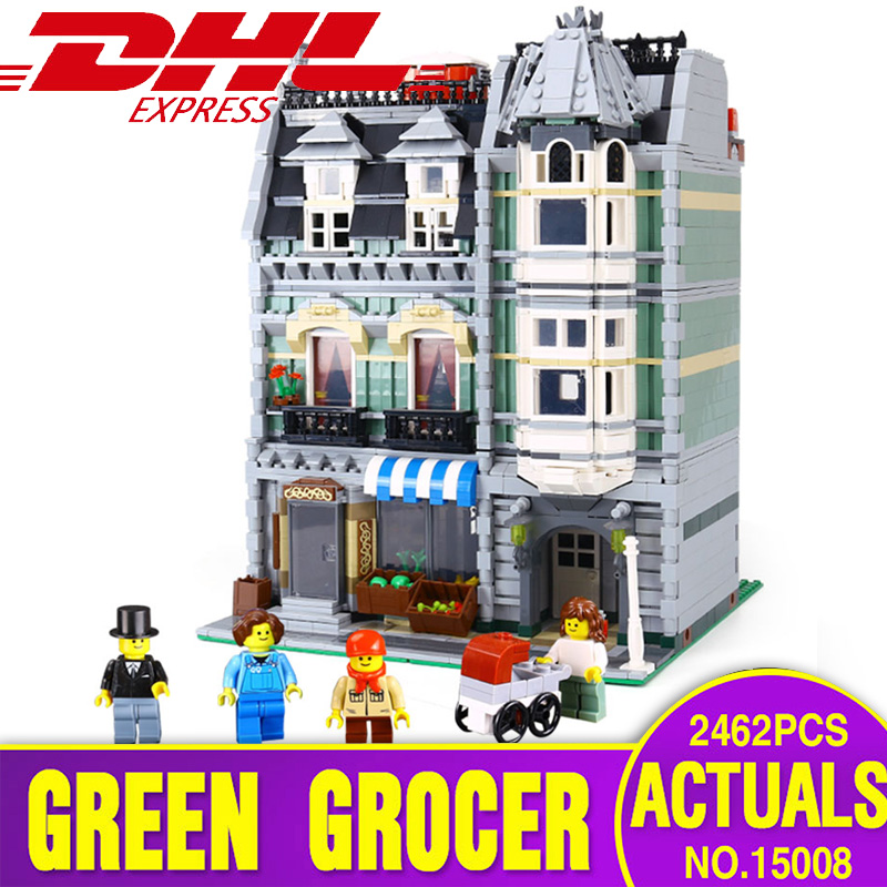 DHL City Street Building <font><b>15008</b></font> compatible with 10185 Green <font><b>Grocer</b></font> Model Building Kits Blocks Bricks Educational toy for children image