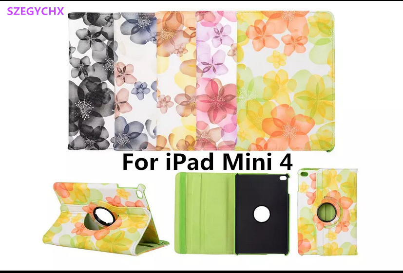 Tablet Case For iPad Mini 4 Case 360 Rotation Flip with Stand Function PU Peach Blossom