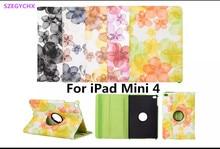 Tablet case para ipad mini 4 case flip rotación de 360 con la Función Del Soporte de LA PU de Impresión Flor de Durazno para Smart Cover, SZEGYCHX