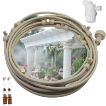 12M Garden Patio Cooling System with 16pcs mist fog nozzles 1 water filter clips